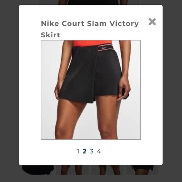 Nike court slam victory black tennis skort large